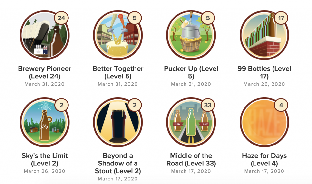 Examples of beer badges that can be unlocked.