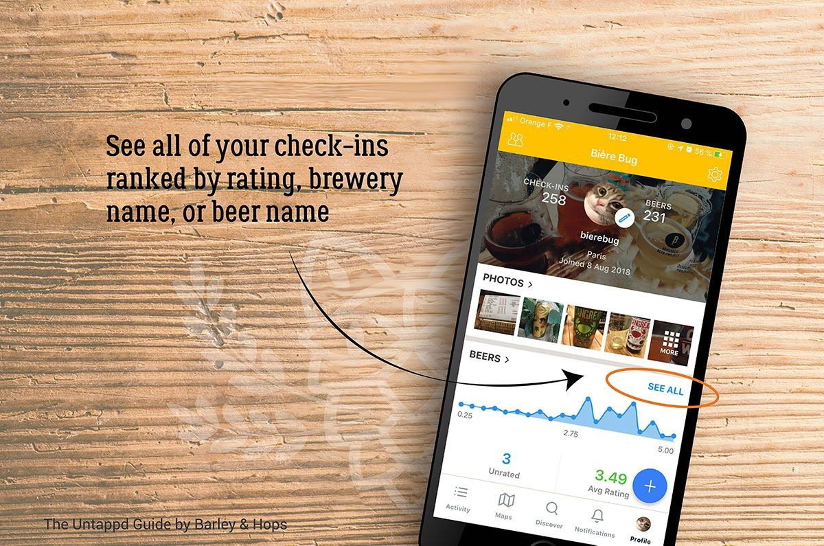 See all of your check-ins ranked by rating, brewery name, or beer name.