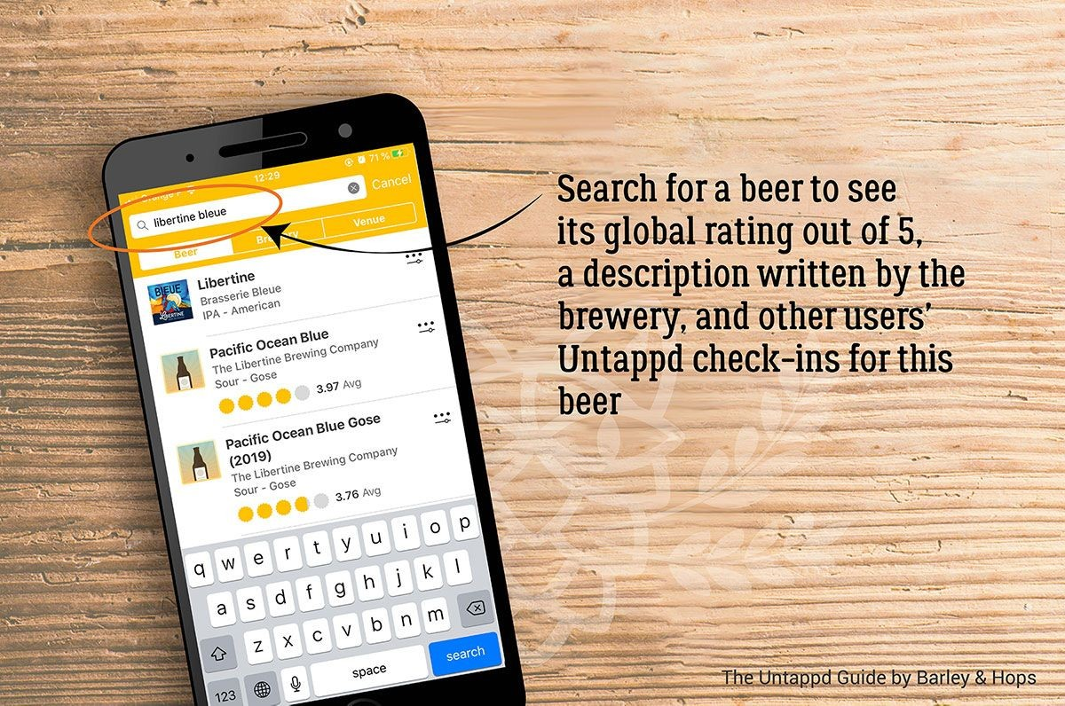 Search for a beer to see its global rating out of 5, a description written by the brewery, and other users' Untappd check-ins for this beer.